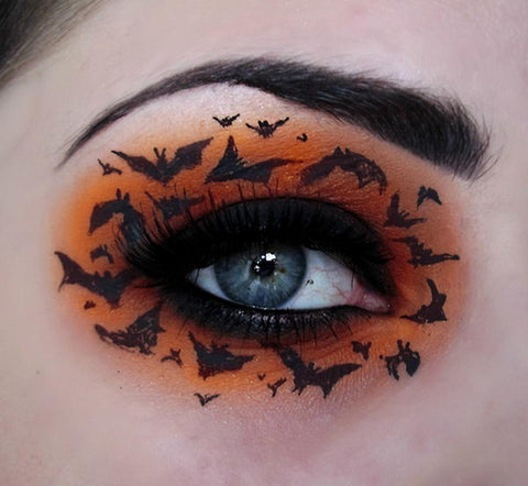 Bats at Sunset Halloween eye makeup