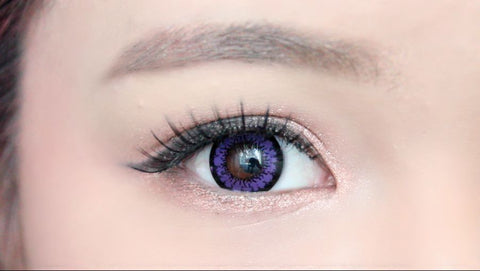 Blue contact lenses on brown eyes