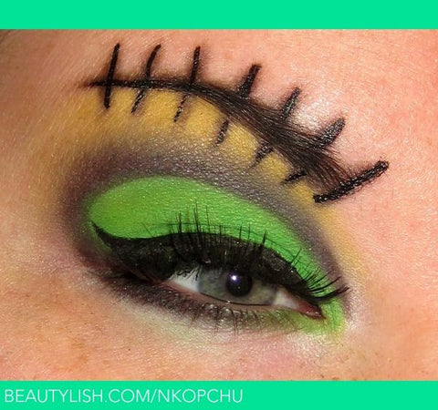 Frankenstein Halloween eye makeup