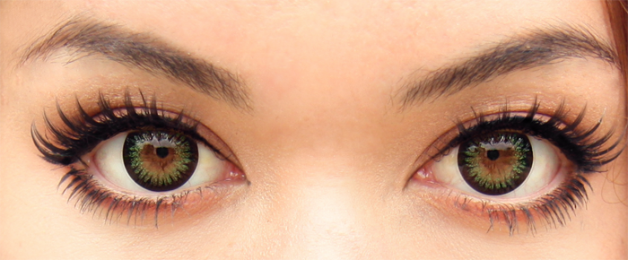 green contact lenses on brown eyes