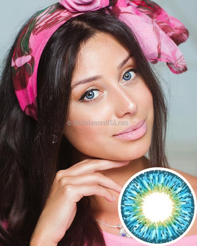 Geo Twin Series Blue Circle Lens YH301 - CircleLensesUSA.com
