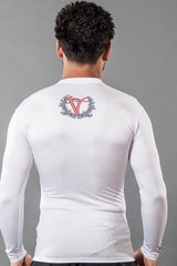 VVVFIGHTCO-VENIVIDIVICI Classic Long Sleeve White Rash Guard for MMA BJJ Wrestling