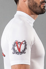 "VVV Short Sleeve Rashguard White ""The Triangle"""