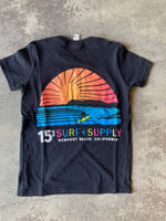 15th St KIDS Sunset Short Sleeve T-Shirt NEON POP Black