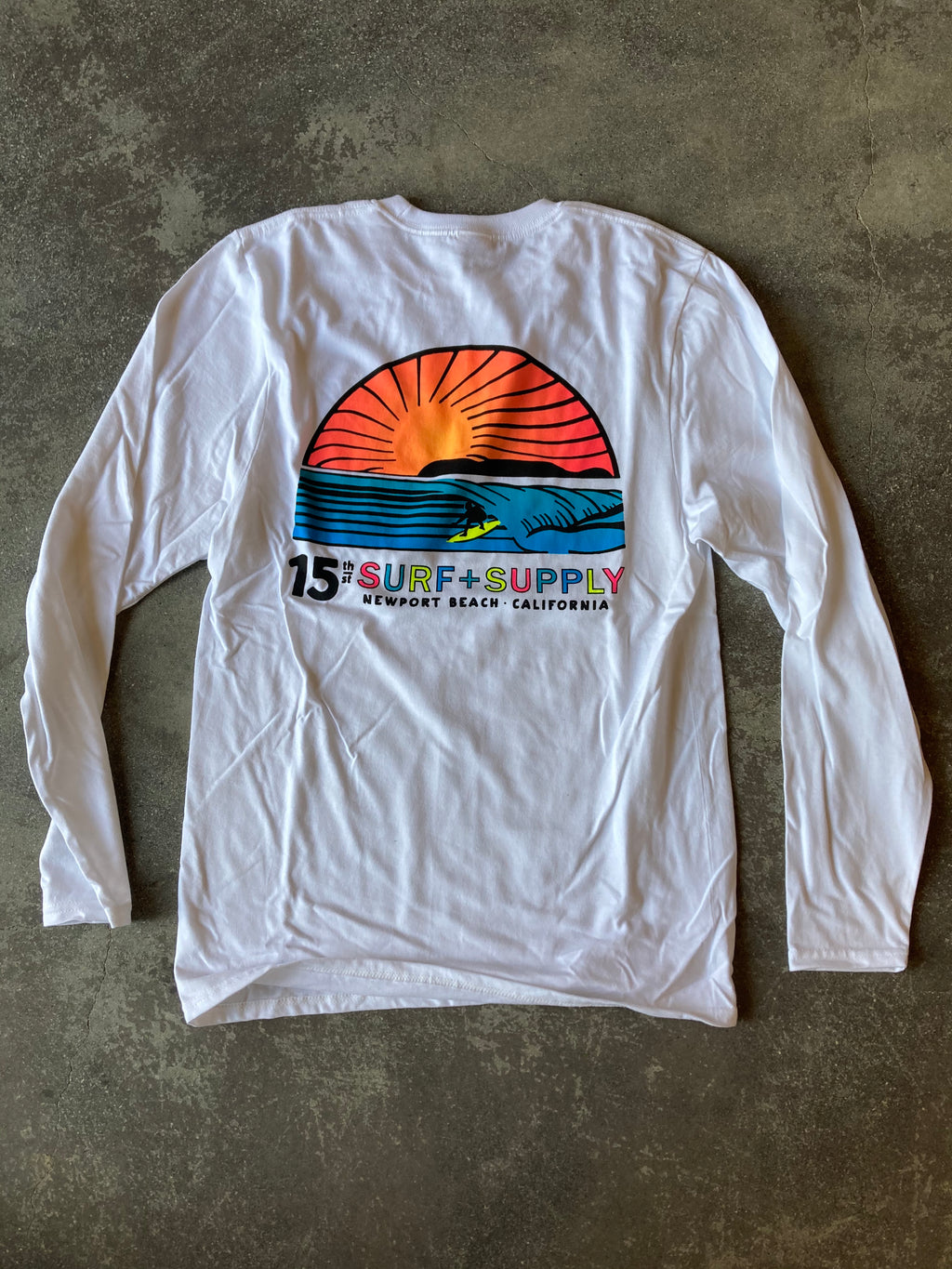 15th St Men's  Sunset Long Sleeve T-Shirt NEON POP White