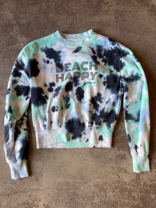 Beach Happy Crewneck Sweatshirt  BLACK/GREEN/WHITE TIEDYE