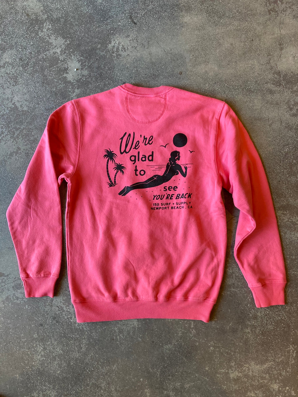 15th St Men's Glad To See You're Back Crewneck Watermelon Drip