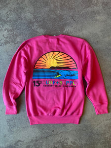 15Th St Kids Sunset NEON POP Crewneck Fleece DECEMBER PINK