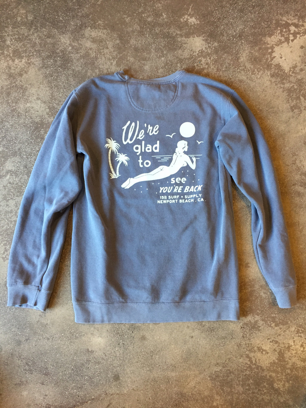 15th St Men's Glad To See You're Back Crewneck Fleece Faded Vintage Denim