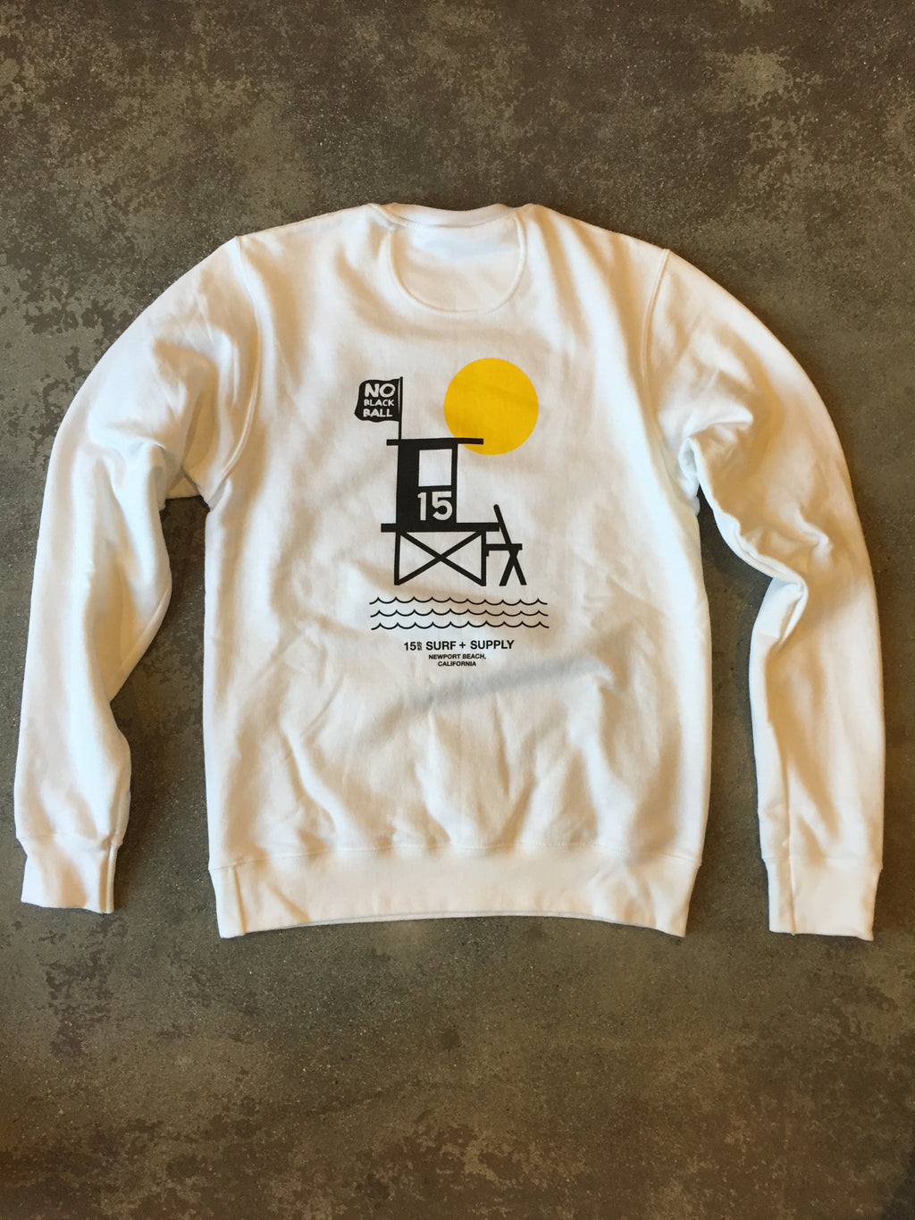 15th St Men's No Black Ball Crewneck Fleece  WHITE