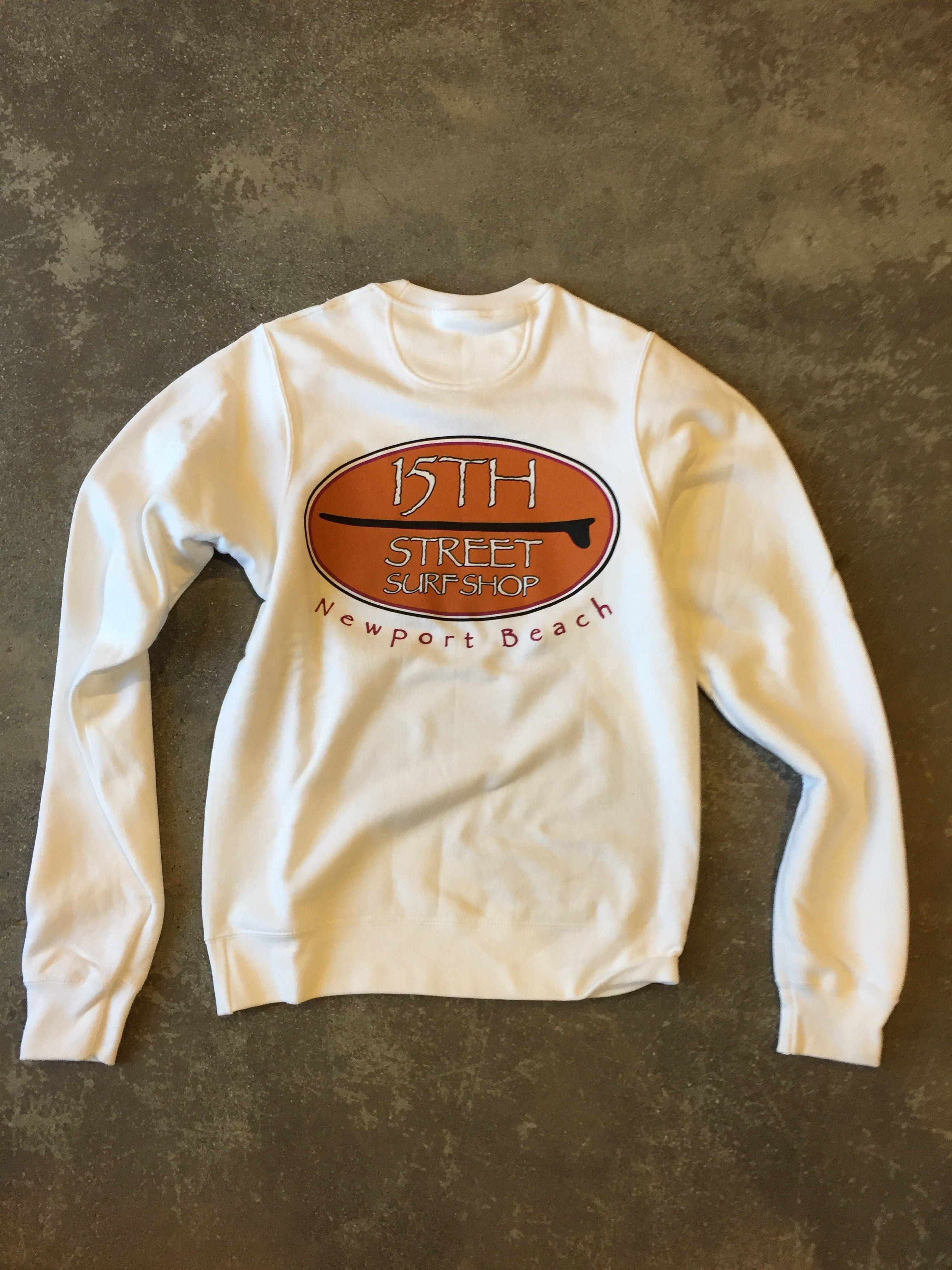 15th St Men's Old School  Crewneck Fleece WHITE