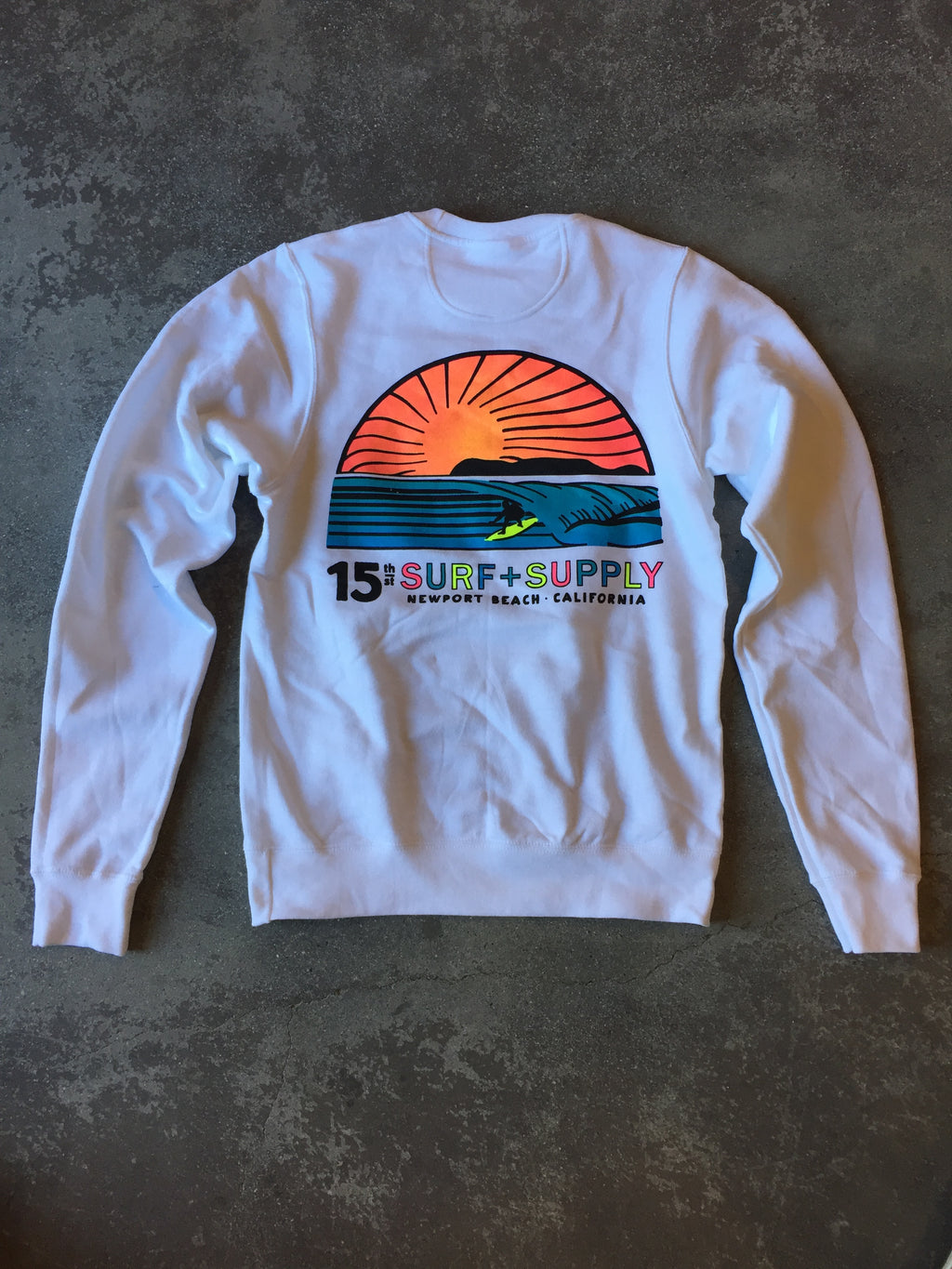 15th St Men's Sunset Fleece NEON POP White