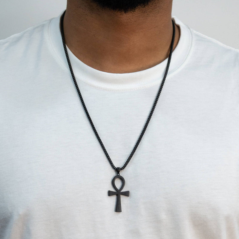 Ankh Necklace - Black