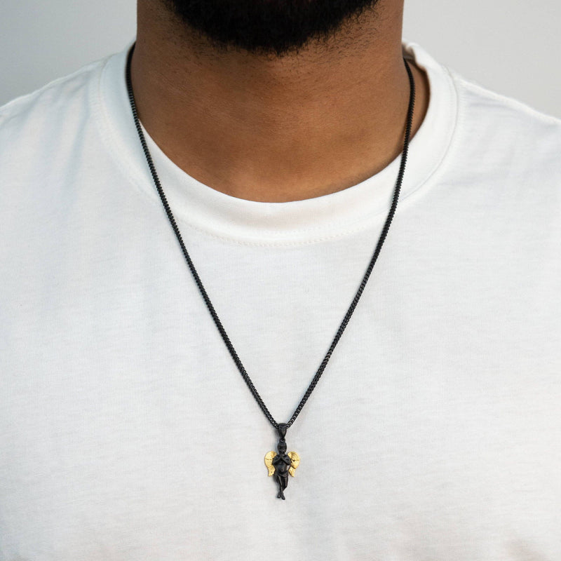 Micro Angel Necklace - Black - Marcozo