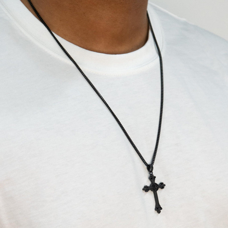 Cross Necklace - Black