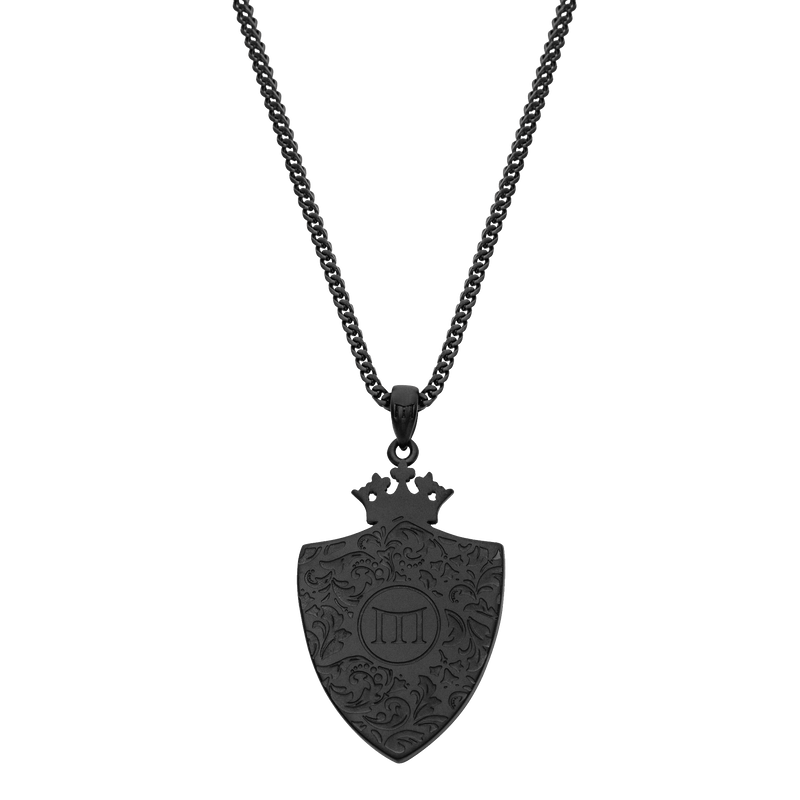 Royal Shield Necklace - Black