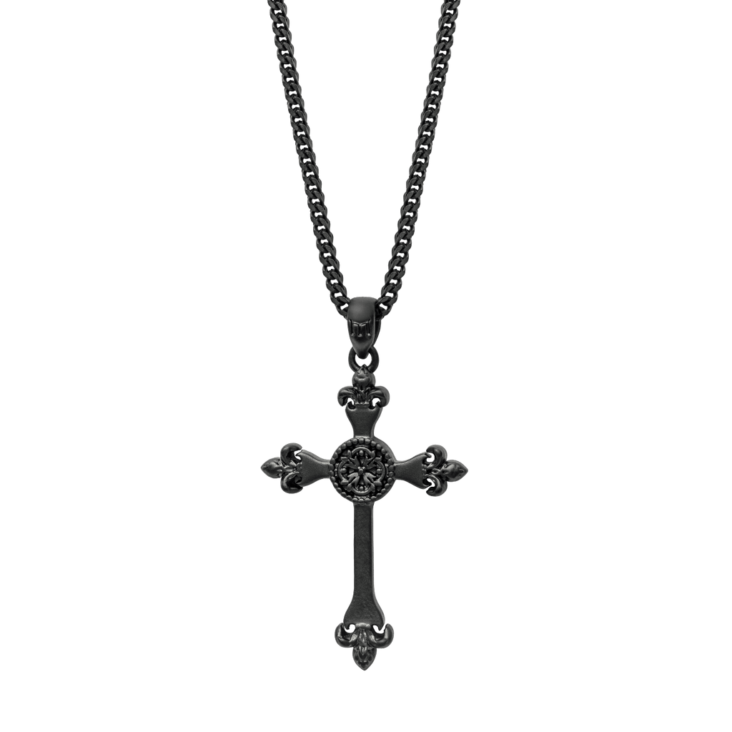 Cross Necklace - Black - Marcozo