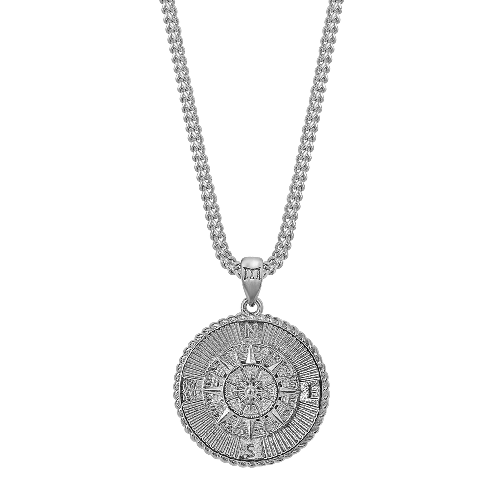Compass Necklace - White Gold