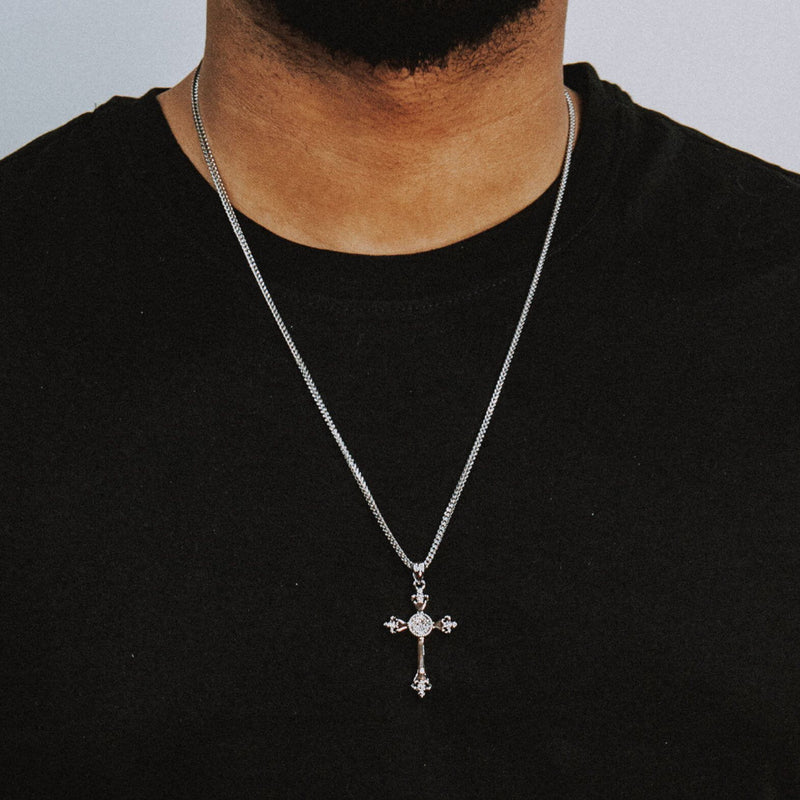 Cross Necklace - White Gold