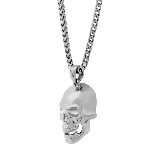 Skull Necklace - White Gold