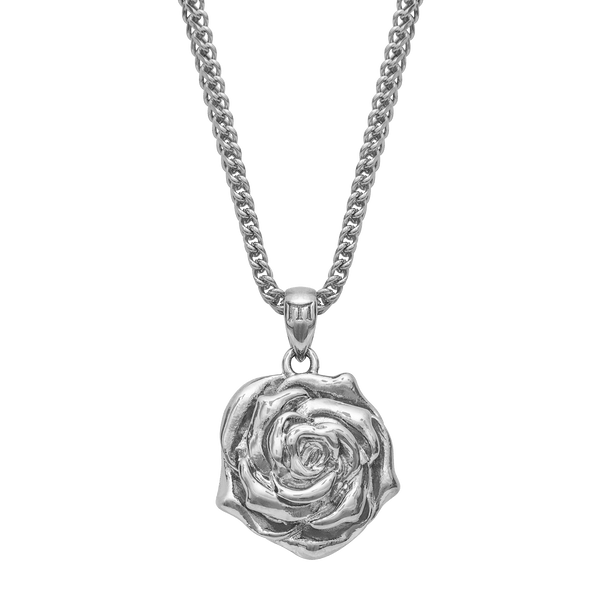 Rose Bud Necklace - White Gold