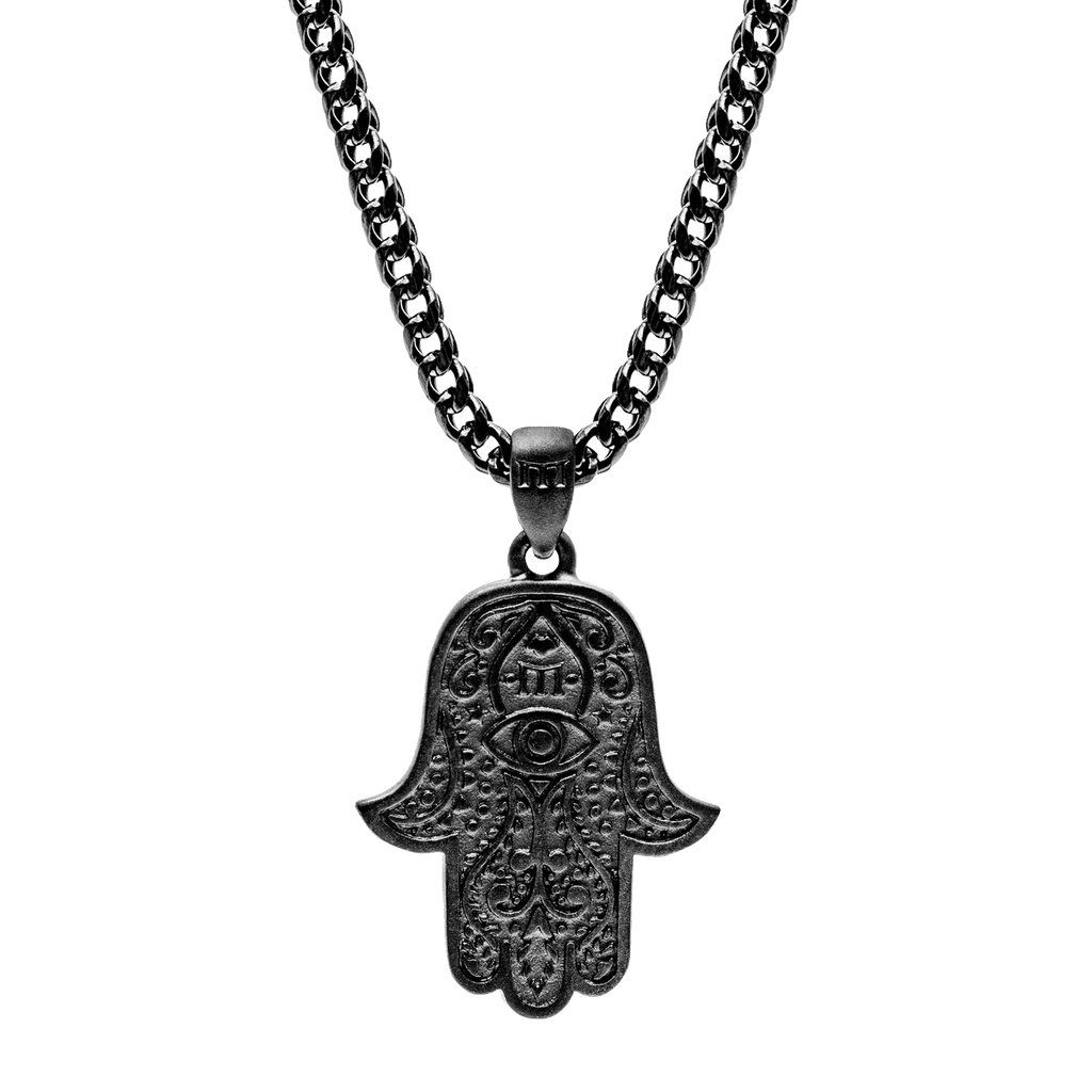 Hamsa Necklace - Black - Marcozo