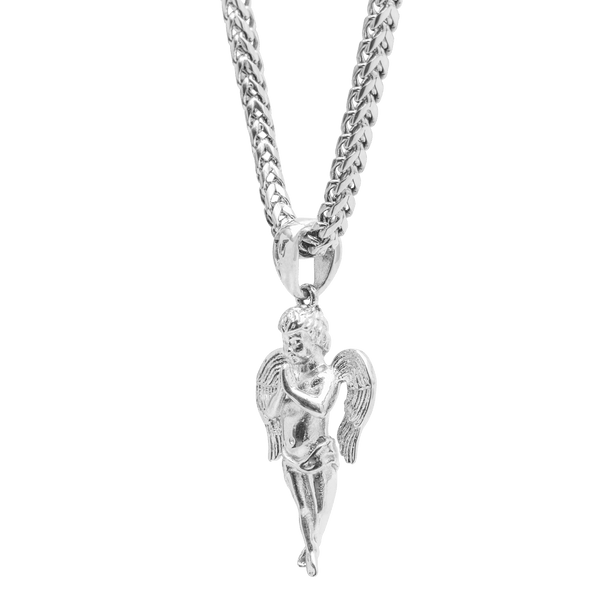 Micro Angel Necklace - White Gold - Marcozo