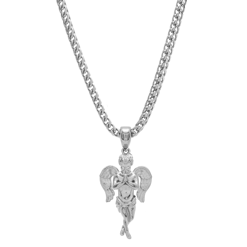 Micro Angel Necklace - White Gold