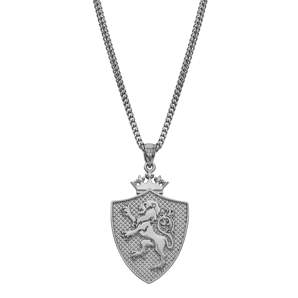 Royal Shield Necklace - White Gold