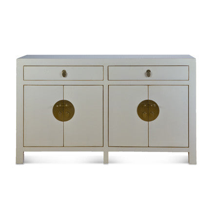 White Lacquer 2 Drawer Cabinet #70868