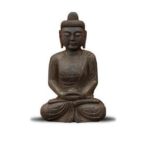 "28"" Black Stone Sitting Meditation Buddha"