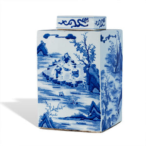 Square Blue and White Ginger Jar