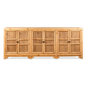 6 Door Natural Elm Wood Buffet