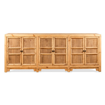 6 Door Natural Elm Wood Buffet #31903