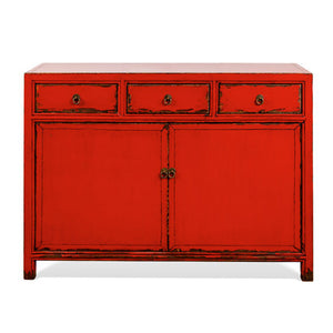Distressed Red Sideboard