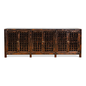 Lattice 6 Door Buffet Dark Distressed
