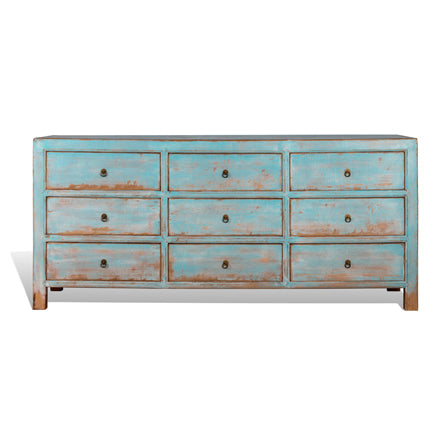 9 Drawer Distressed Blue Cabinet