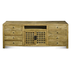 Natural 8 Drawer Media Cabinet