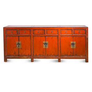 6 Door 6 Drawer Distressed Red Buffet