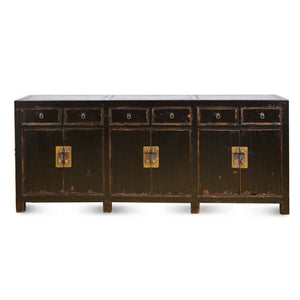 6 Door 6 Drawer Distressed Black Buffet