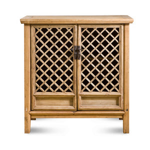 Natural Elmwood Lattice 2 Door Cabinet 80403