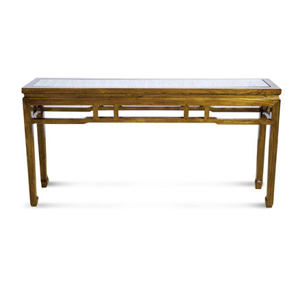 Walnut Console w/glass top