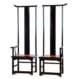 Pair of High Back Lacquer Chair