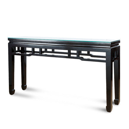 Lacquer Glass Top Console Table