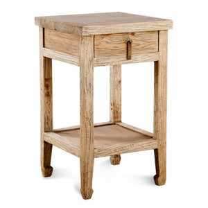 Solid Elm Natural Side Table/ Nightstand