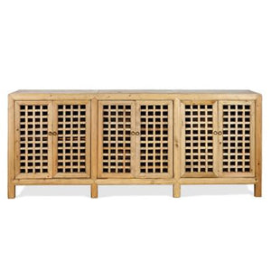 Natural Elm Lattice 6 Door Buffet