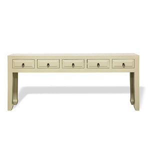 Parchment White 5 Drawer Console
