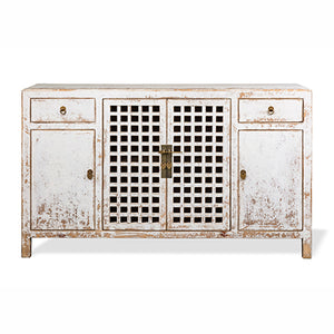 Lattice Door Sideboard - Spackle White