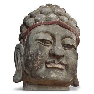 Antique Wooden Buddha Head