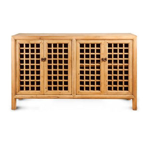 Lattice 4 Door Natural Cabinet